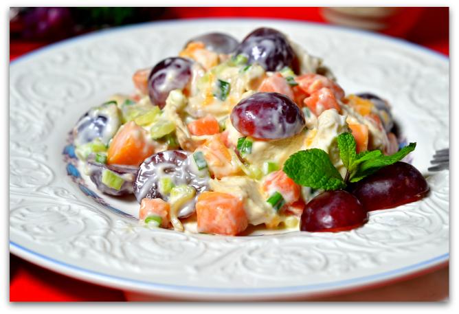 Рецепт салата с куриным филе и виноградом рецепт