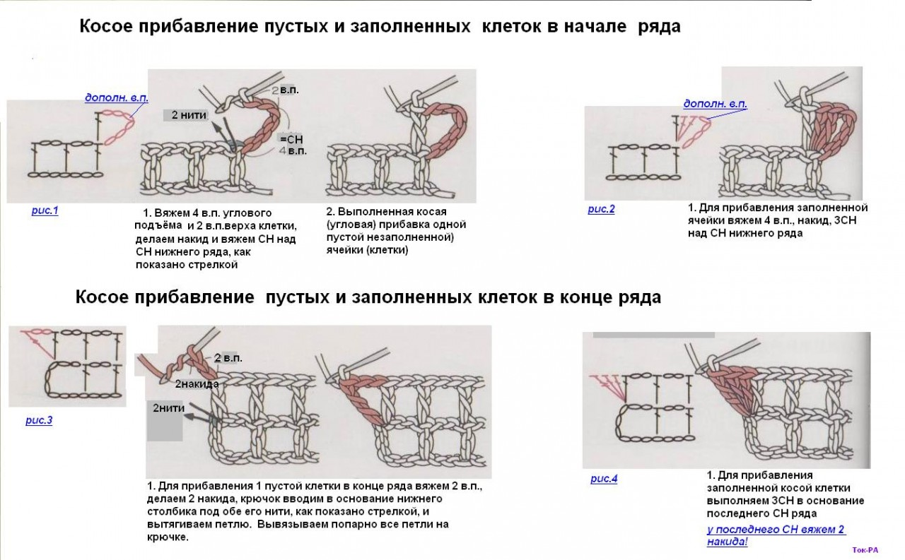 Прибавка петель в вязании крючком на схемах