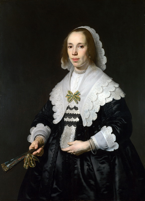 Bartholomeus van der Helst - Portrait of a Lady in Black Satin with a Fan. Национальная галерея, Часть 1