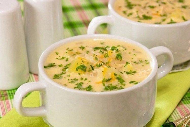 Суп с рисом и плавленым сыром