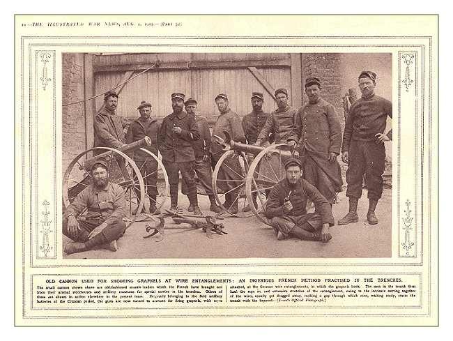 У французов возникла блестящая идея - использовать для преодоления вражеских проволочных заграждений малокалиберные пушки, стреляющие абордажными крюками. На фото расчеты таких пушек