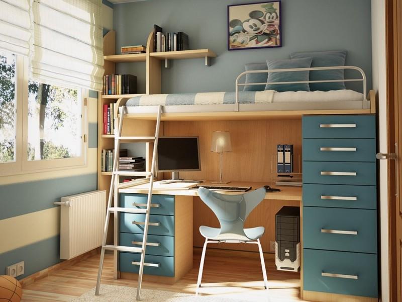 А главное, что такой принцип распределения пространства подходит как для очень маленьких комнат… двухъярусная кровать, дизайн, идеи, маленькая квартира