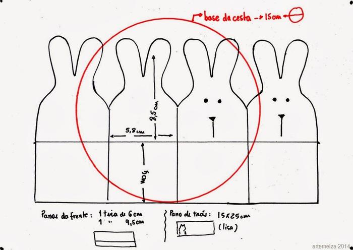 Текстильная корзинка из пасхальных зайцев (1) (700x496, 180Kb)