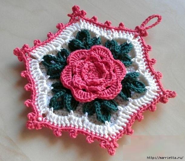 Вязание объемную розу