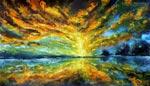 Живопись маслом: Волшебный рассвет над озером. <a href=