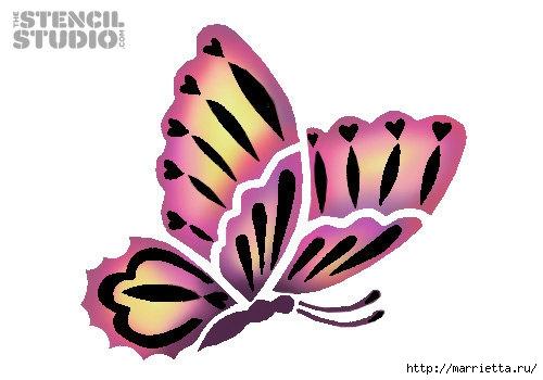 Порхающие бабочки в интерьере. Трафареты для стен и потолка (15) (500x350, 83Kb)