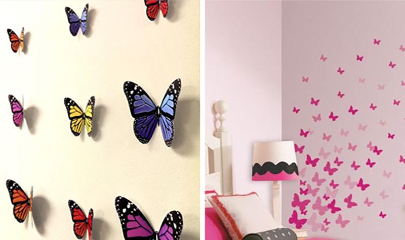 Сделать своими руками бабочки на стене фото