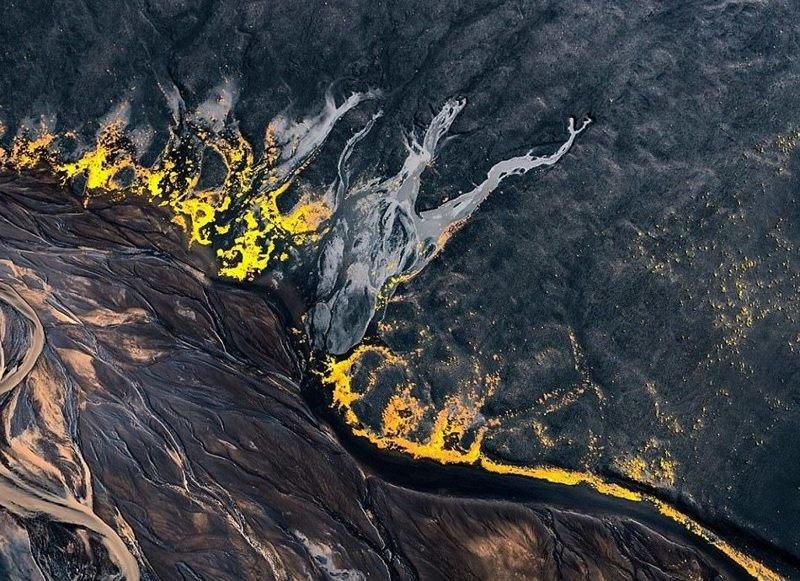 Вулканический ландшафт дрон, исландия, кадр, красота, мир, природа, съемка