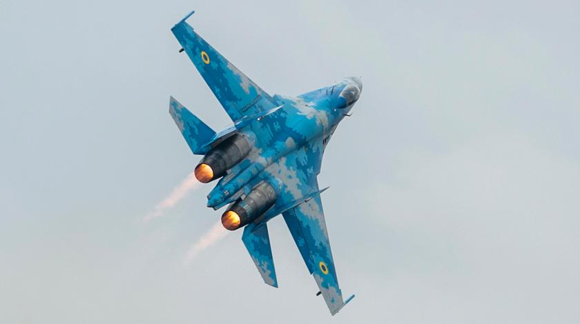 Су-27 ВВС Украины разломился пополам