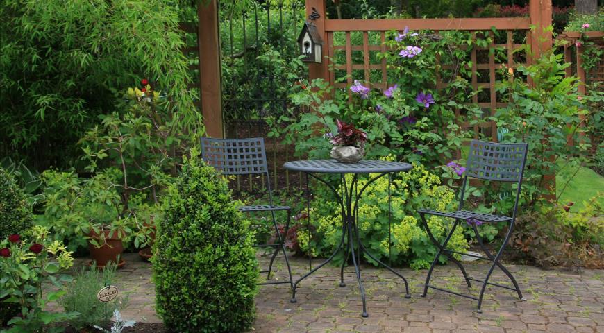 сад, садовая мебель, дизайн сада, отдых, площадка для отдыха