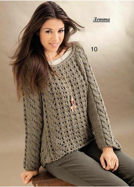 Модный женский пуловер из толстой пряжи