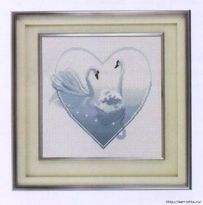 """""""Два лебедя"""" - схема вышивки крестом"""
