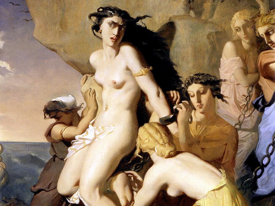Андромеду приковывают к скале Нереиды. Теодор Чассери, 1840 год.