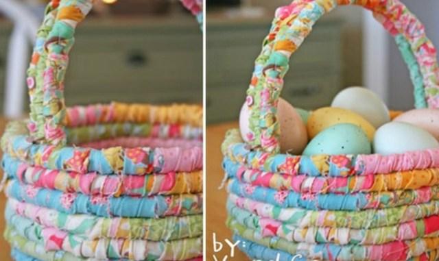 Чудесная пасхальная корзинка из бельевой веревки и обрезков ткани