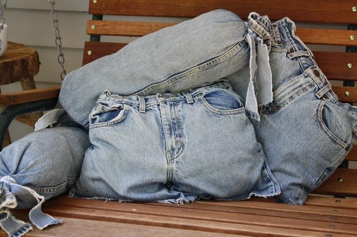 Подушка из старых джинсов без машинки