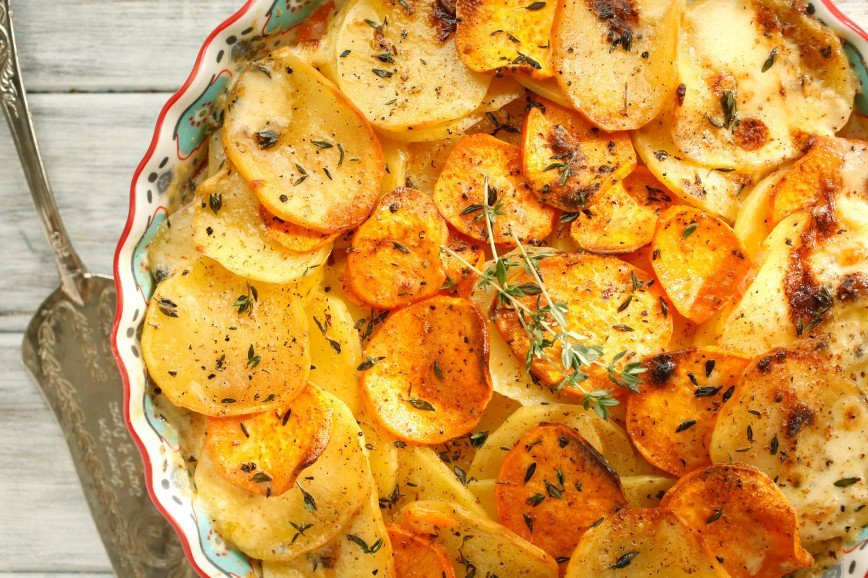 Картофельный гратен с мясом