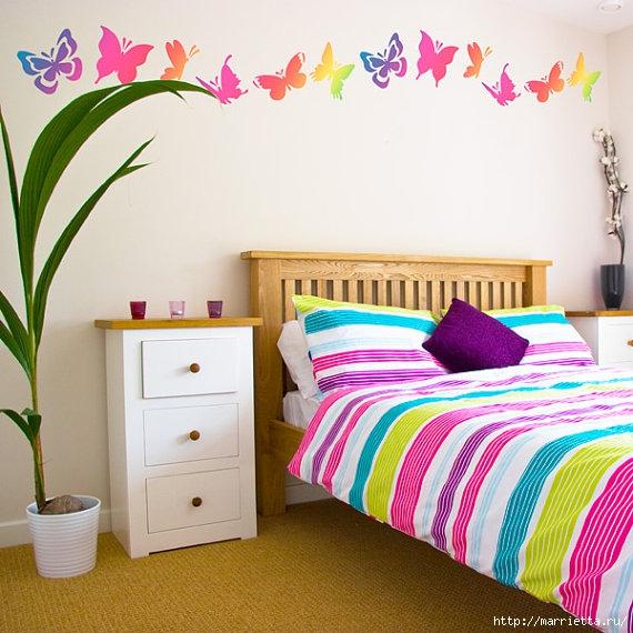 Порхающие бабочки в интерьере. Трафареты для стен и потолка (17) (570x570, 211Kb)