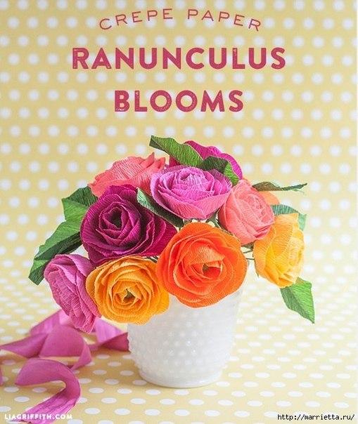 Радужные розы из гофробумаги..