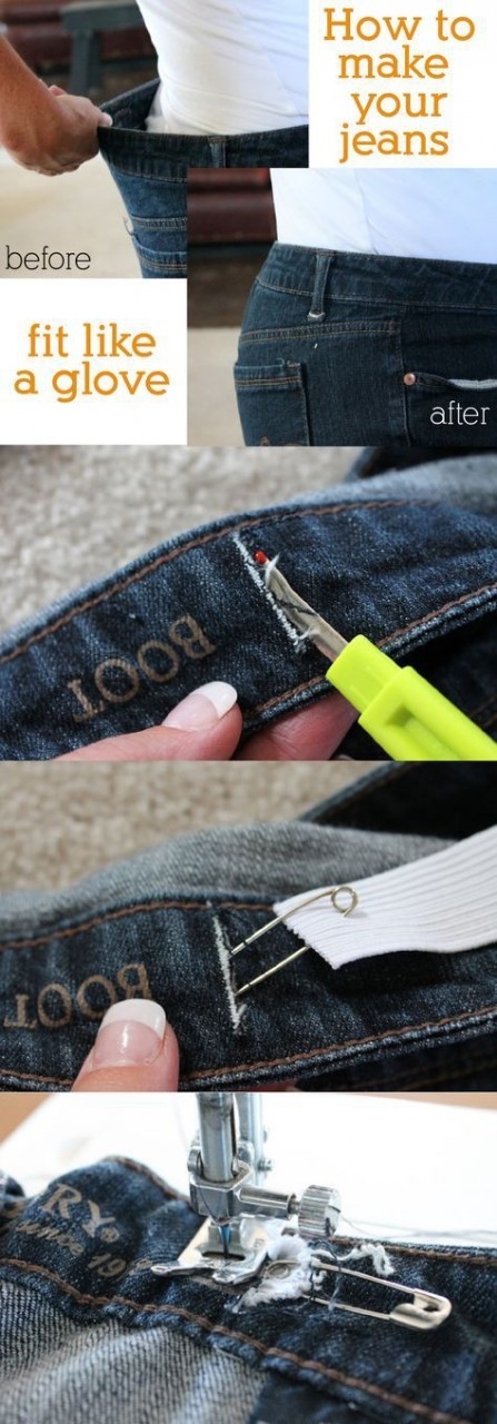 Как уменьшить размер джинсов в поясе