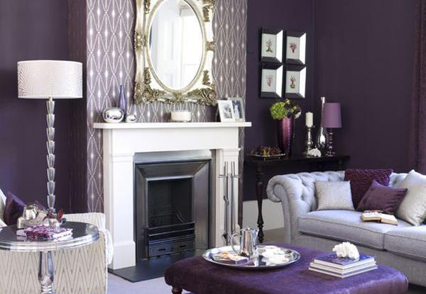 Сливовый цвет в королевской гостиной