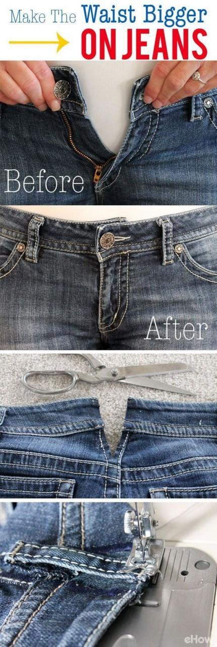 Как увеличить размер джинсов в поясе