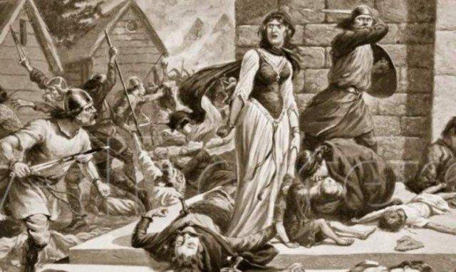 Сцена убийства Гунгильды, рисунок XIX века интересно, история, мумии, наука, скелеты