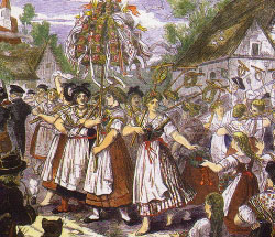 Праздник урожая. Старинное чешское изображение. Фрагмент