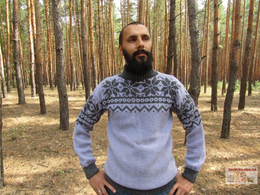 Мужской свитер с жаккардовым…