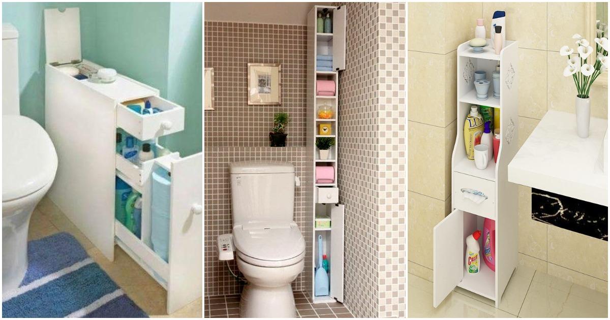 15 любопытных идей компактной системы хранения в туалете