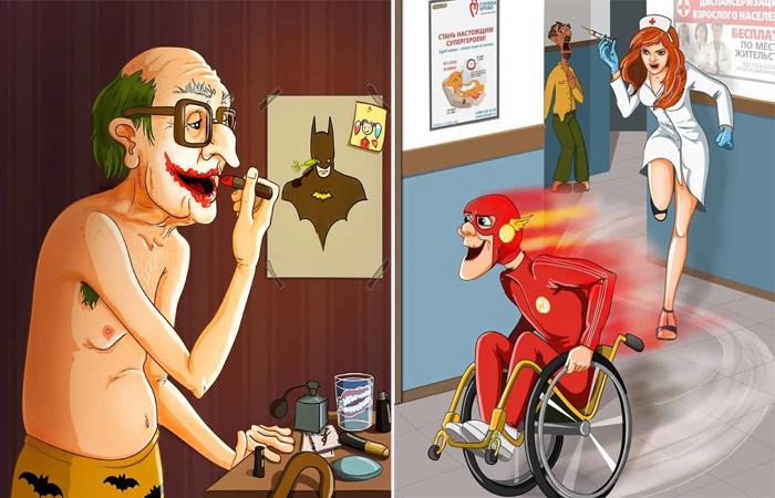 Отчаянные пенсионеры: Юмористическая серия иллюстраций о супергероях, ушедших на заслуженный отдых