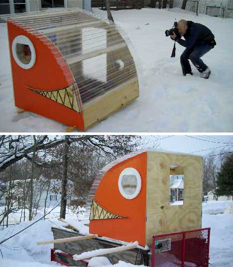 домик для рыбалки на лыжах