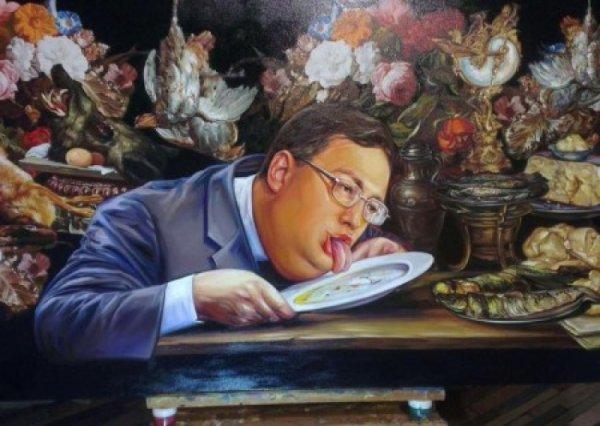 Древние шумерские традиции: советники МВД лижут тарелки и едят руками