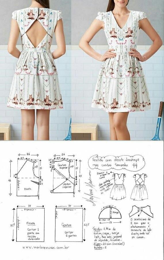 Выкройка летнего платья из хлопка