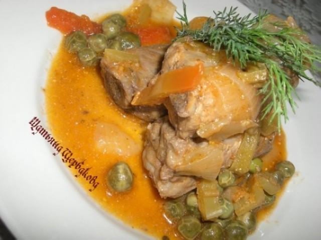 Свиные рёбрышки с овощами в заливке из мёда