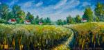 Летний деревенский пейзаж: Летняя дорога через поле. Пейзаж маслом. Живопись мастихином.