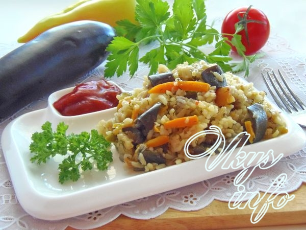 Рис с баклажанами в мультиварке