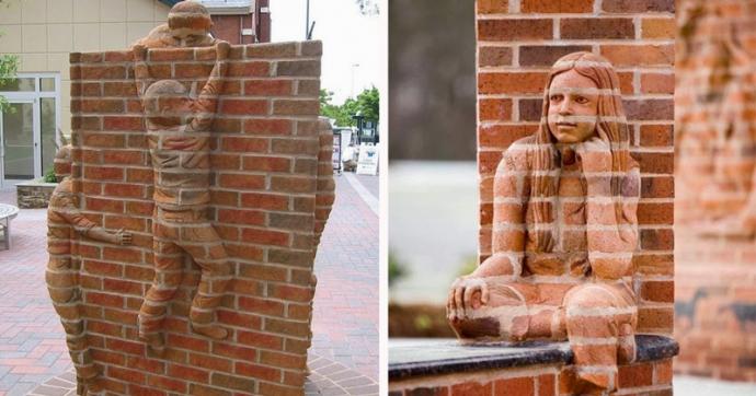 Невероятные скульптуры из кирпичной кладки