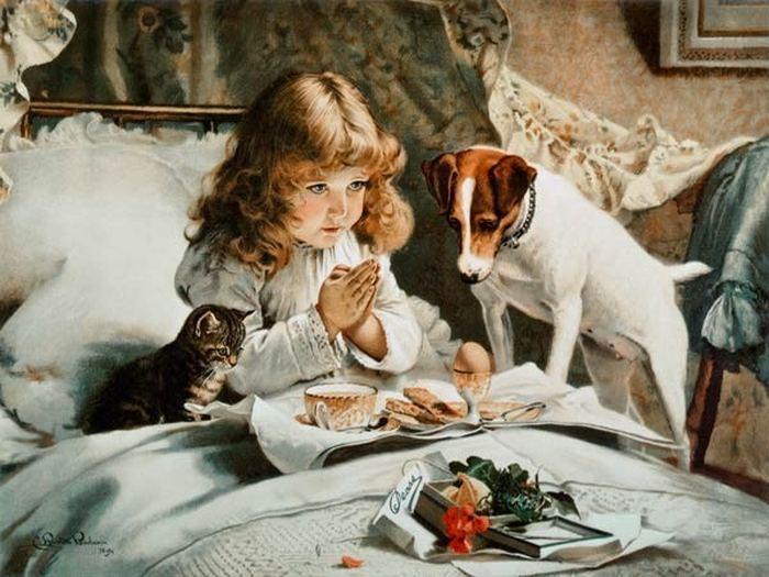 Теплая атмосфера любви детей и животных