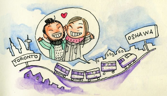 Рождественская поездка в Ошаву Любовь, история, комикс, любовь на расстоянии, рисунки, романтика, творчество, художник