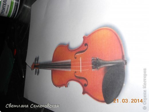 Мастер-класс Моделирование конструирование Скрипка Акварель Бумага Картон Клей фото 2