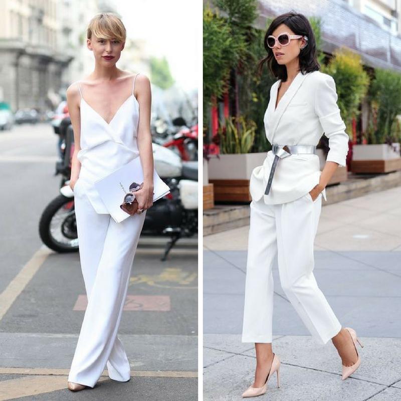 Девушки в белых костюмах