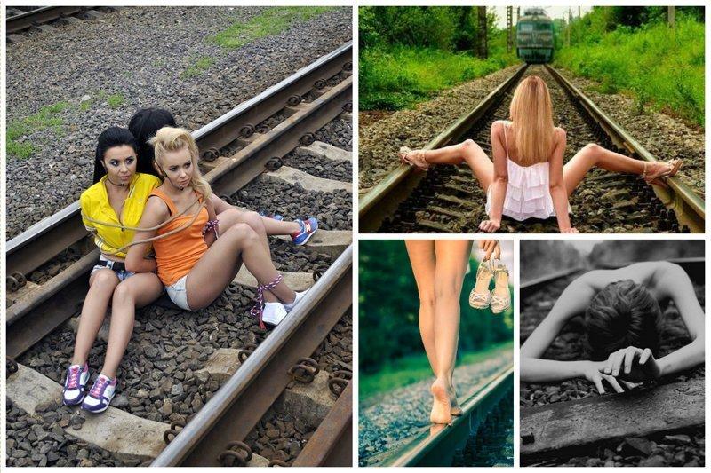 И ножками голыми обязательно девушки, на рельсах, поезда, странное, туалеты, юмор