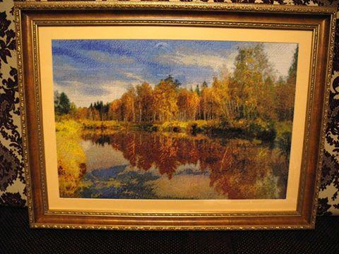 """Вышивка """"Осенний пейзаж""""."""
