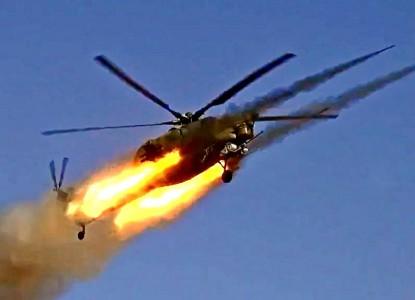 Ми-28Н «Ночные охотники» испепеляют боевиков ИГИЛ в котле