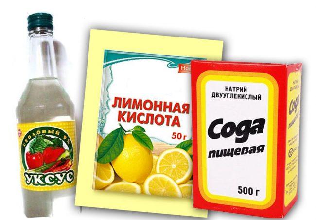 Набор для избавления чайника от накипи: уксус, лимонная кислота, сода