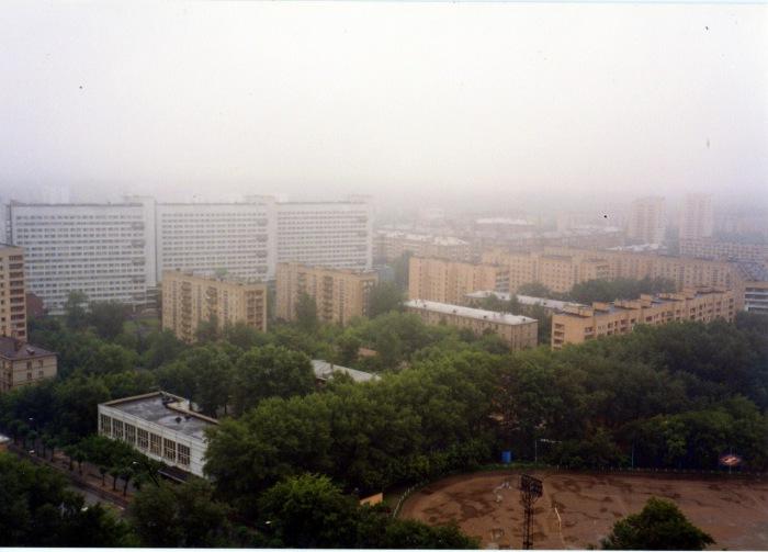 Утренний туман над Москвой. СССР, Москва, 1985 год.