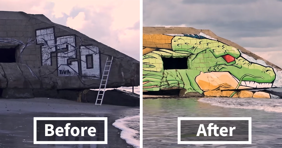 Street Artist Duo Transforms A Blockhouse On French Beach Into Shenron From Dragon Ball