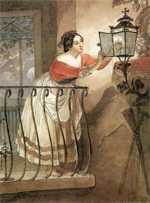 Итальянка, зажигающая лампаду перед образом мадонны, 1835 (519x700, 75Kb)