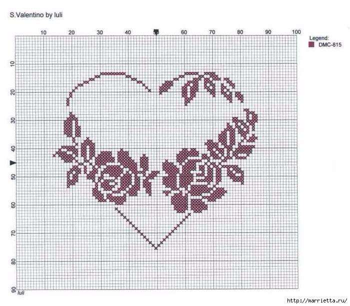 Вышиваем розы на скатерти и салфетках. Схемы (19) (700x612, 286Kb)