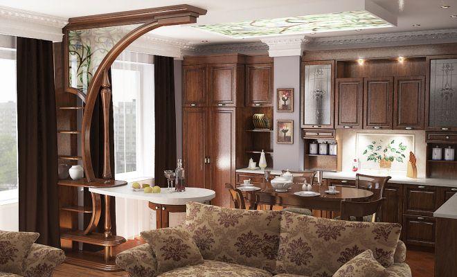 зонирование кухни гостиной барной стойкой